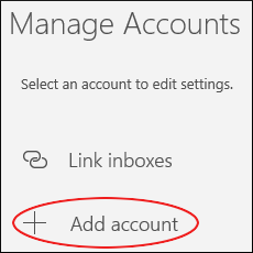 Microsoft Mail - Manage Accounts - Add account