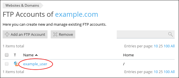 Plesk - FTP Accounts page - Select user