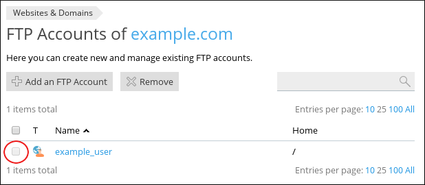 Plesk - FTP Accounts page - Select user check box